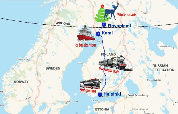 7dayHelsinkiRovaniemiKemimap Scandi Classics Tour Operator