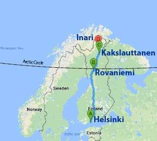 Map of the tour from Helsinki to Lapland